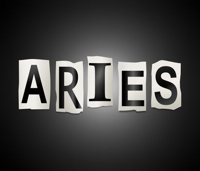 Illustration depicting a set of cut out printed letters arranged to form the word Aries