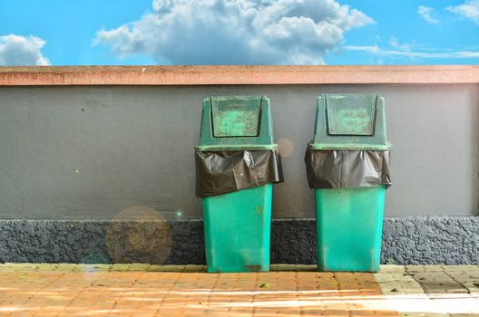Green trashcan for keeping garbage