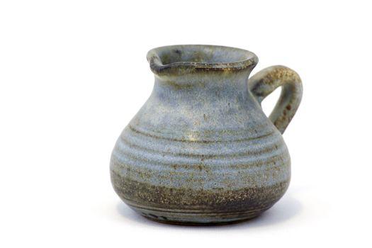 Clay jug, old ceramic vase isolated on white background
