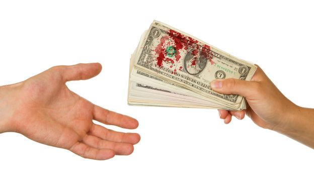 Transfer of money between man and woman, blood