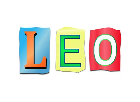 Illustration depicting a set of cut out printed letters arranged to form the word Leo.