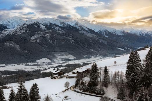 Alpine panorama in Tyrol at wintertime, Austria
