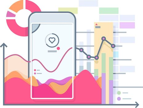 Schedule pulse on smartphone. Phone and pulse heart, health device app, gadget technology, vector illustration
