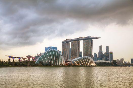 SINGAPORE - NOVEMBER 07: Overview of the marina bay with Marina Bay Sands on November 07, 2015 in Singapore.