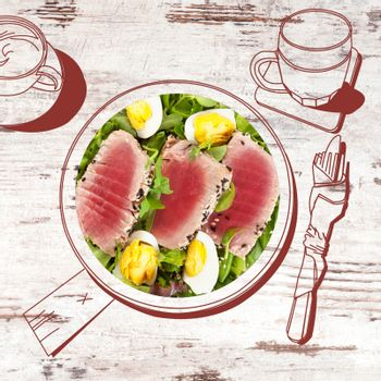 Delicious tuna steak with salad. Fine dining, exquisite luxurious gastronomy background.