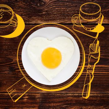 Delicious breakfast. Sunnyside fried egg. Photography and illustration.