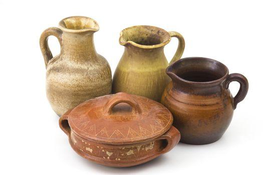 Clay pots, old ceramic vases