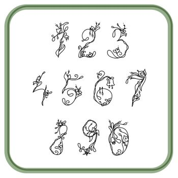 Numbers with exotic flowers white and black for writing