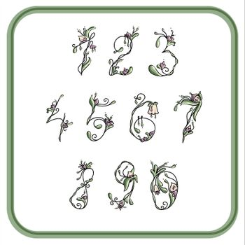 Numbers with exotic flowers for writing
