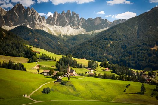 Funes Valley with Geislerspitzen (Gruppo delle Odle), South Tyro