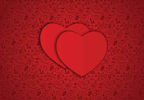 Vector background red hearts