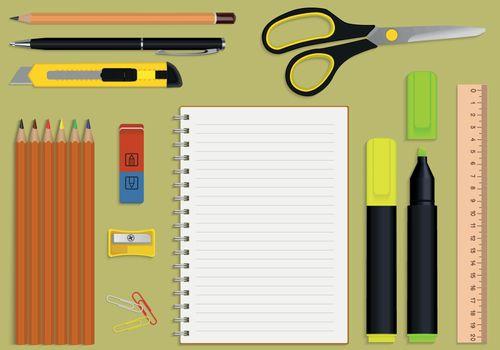 vector set office supplies