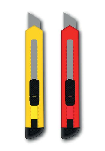 Vector stationery knife red and yellow