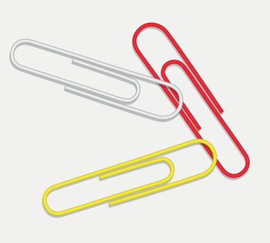 Vector paper clip red white yellow