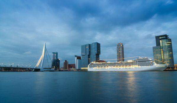 Twilight at Erasmus Bridge with Skyscraper in Rotterdam