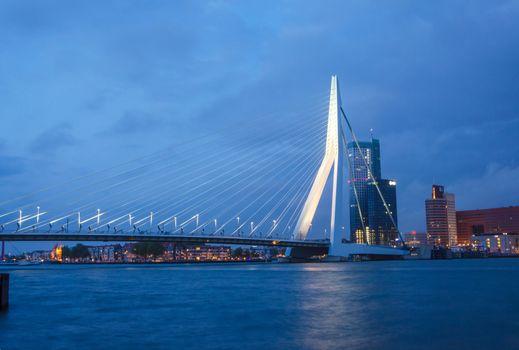 Twilight at Erasmus Bridge in Rotterdam