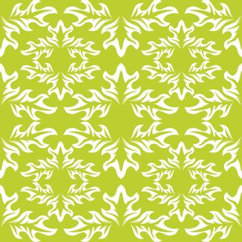 seamless background. Green wallpaper with white leaf pattern
