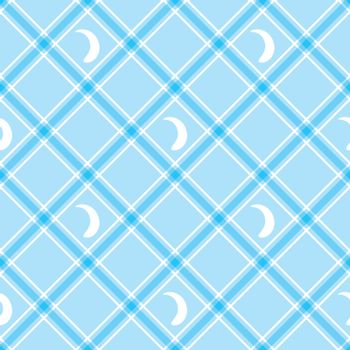 Seamless wallpaper. Blue checkered background. Tablecloth