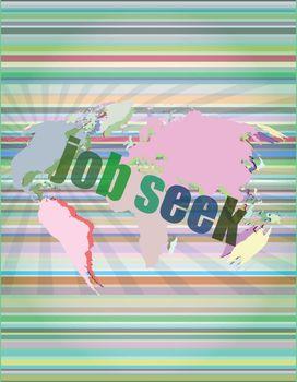 job seek word on touch screen, modern virtual technology background vector illustration