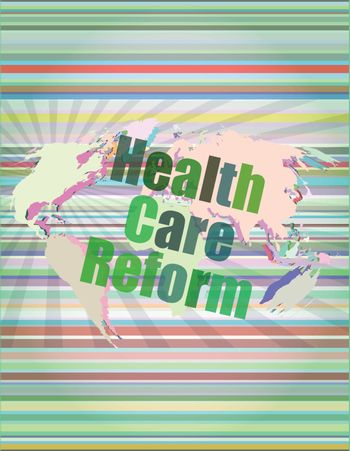 health care reform word on touch screen, modern virtual technology background vector illustration