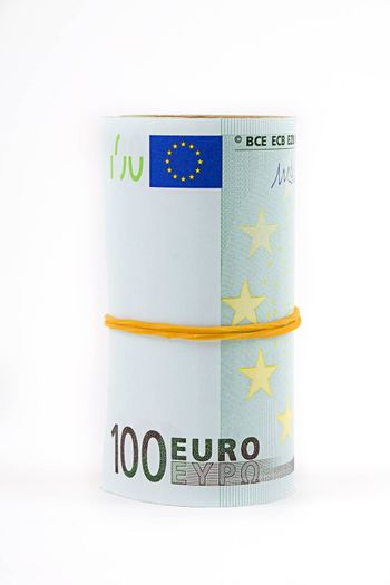 Rolled up European currency