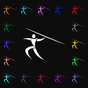 Summer sports, Javelin throw icon sign. Lots of colorful symbols for your design. Vector
