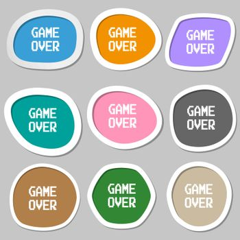 Game over concept symbols. Multicolored paper stickers. Vector
