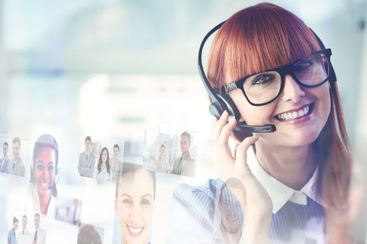 Composite image of attractive hipster woman with headset