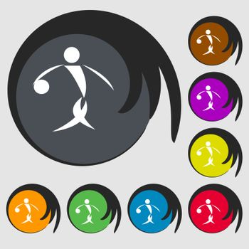 Summer sports, basketball icon. Symbols on eight colored buttons. Vector