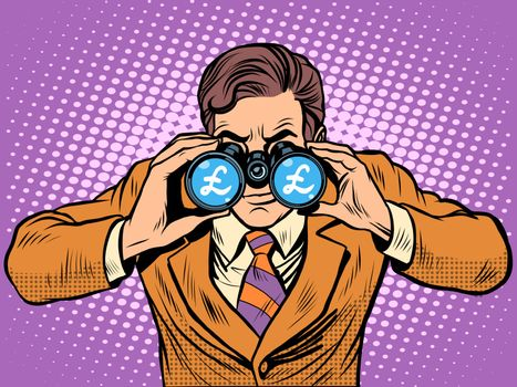 Financial monitoring of currency pound businessman binoculars pop art retro style