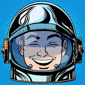 emoticon laughter Emoji face man astronaut retro