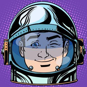 emoticon wink Emoji face man astronaut retro
