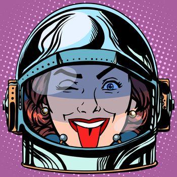 emoticon tongue Emoji face woman astronaut retro