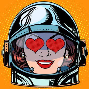 emoticon love Emoji face woman astronaut retro