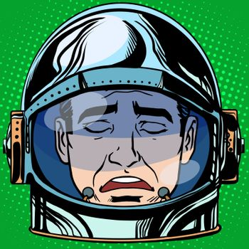 emoticon sadness Emoji face man astronaut retro