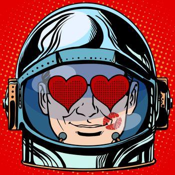 emoticon lover Emoji face man astronaut retro