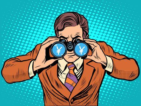 Financial monitoring of currency yen businessman binoculars pop art retro style