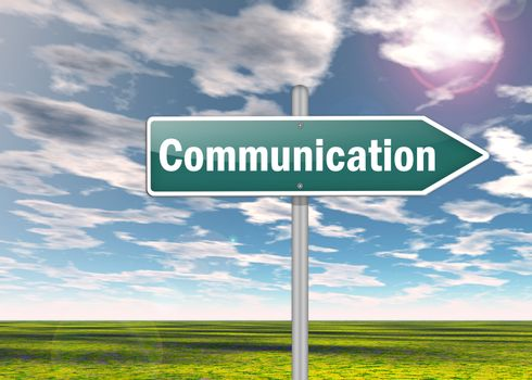 Signpost with Communication wording