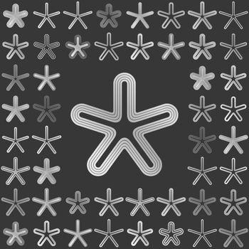 Silver metallic line star icon design set
