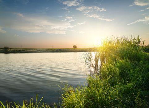 Quiet river at sunset