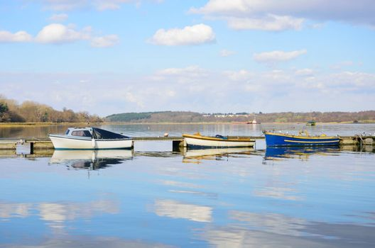Boats Moored in English Estuary
