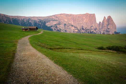 Hiking trail with Schlern mountain, Seiser Alm, South Tyrol, Ita