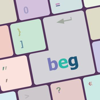 beg word on keyboard key, notebook computer button vector illustration