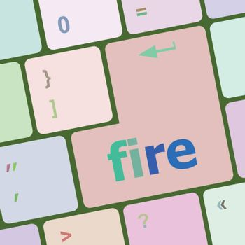 fire word on keyboard key, notebook computer button vector illustration