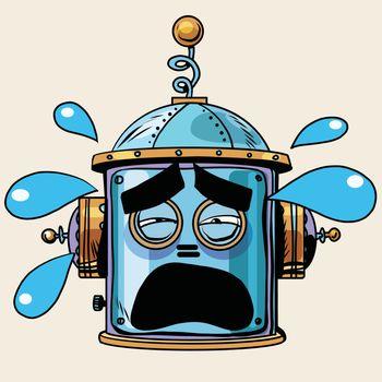 emoticon tears emoji robot head smiley emotion