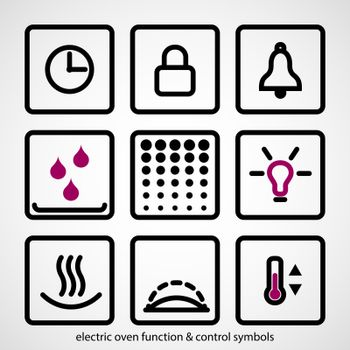 Electric oven function & control symbols. Outline icon collection - household appliances.