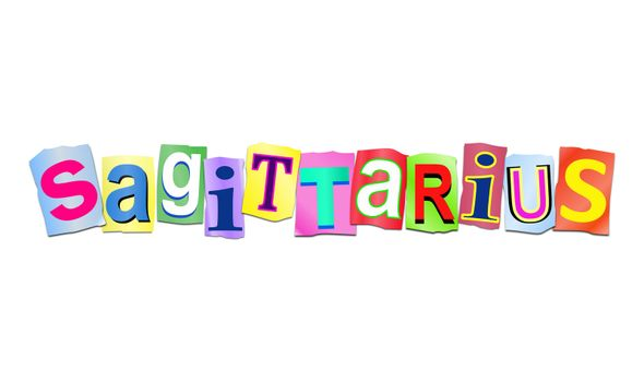 Illustration depicting a set of cut out printed letters arranged to form the word sagittarius.