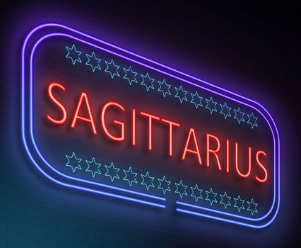 Illustration depicting an illuminated neon sign with a sagittarius concept.