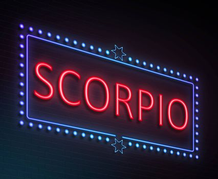 Illustration depicting an illuminated neon sign with a scorpio concept.
