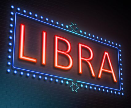 Illustration depicting an illuminated neon sign with a Libra concept.